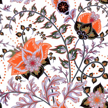 Seamless pattern. Vintage decorative elements. Hand drawn background. Arabic, Indian, ottoman motifs. Perfect for printing on fabric or paper