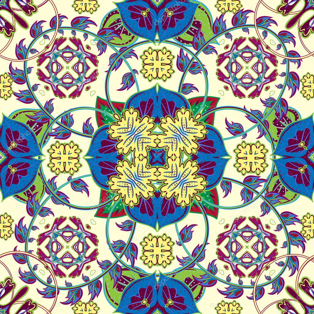 Turkish, Arabic, African Ottoman Empires era traditional seamless ceramic tile, vector floral pattern.