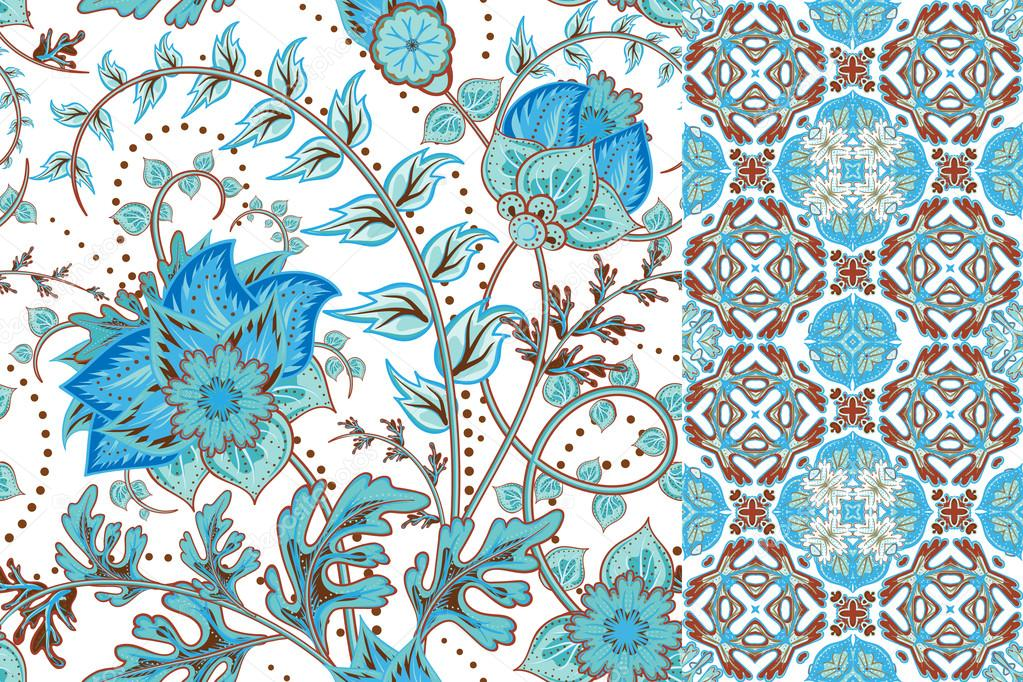 Set of floral seamless background and border with fantasy flowers, blossom and leave. Vector ornamental pattern set