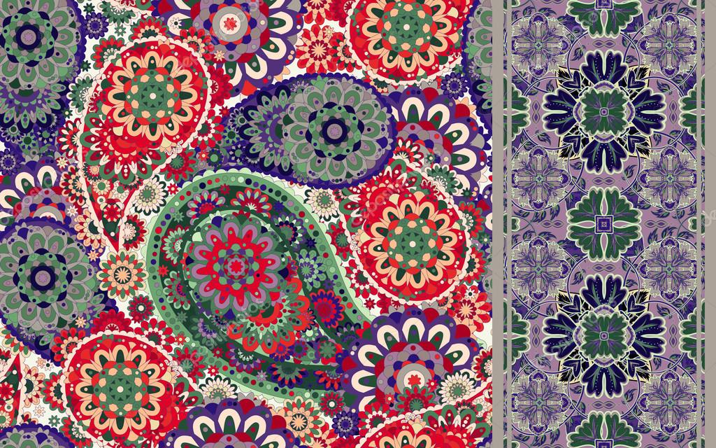Set of colorful paisley seamless pattern and stripped. Vintage paisley background