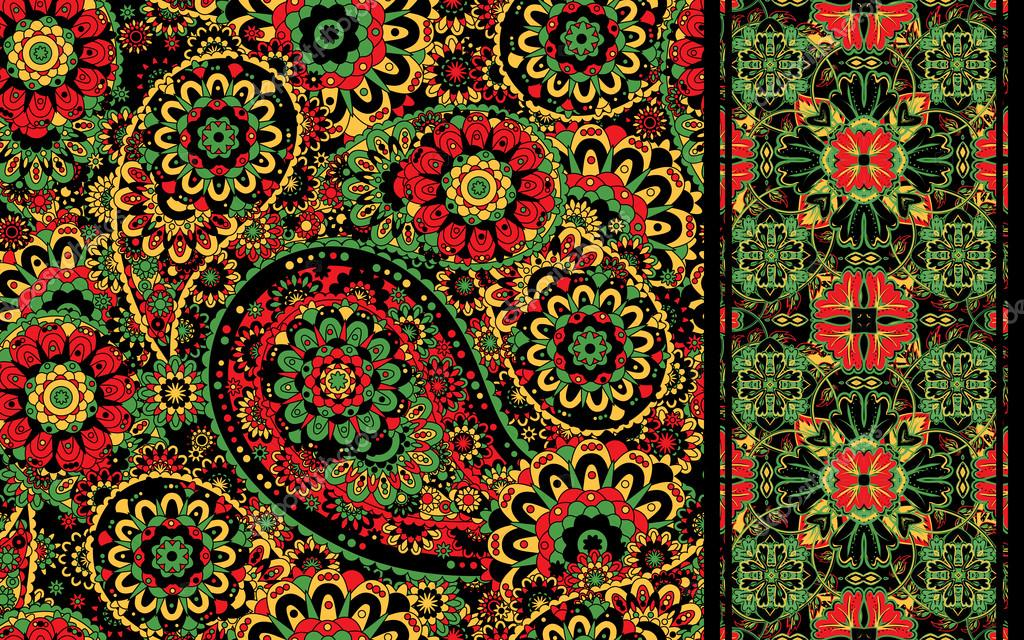 Set of traditional oriental seamless paisley pattern and border. Vintage flowers background. Decorative ornament backdrop for fabric, textile, wrapping paper, card, invitation, wallpaper, web design