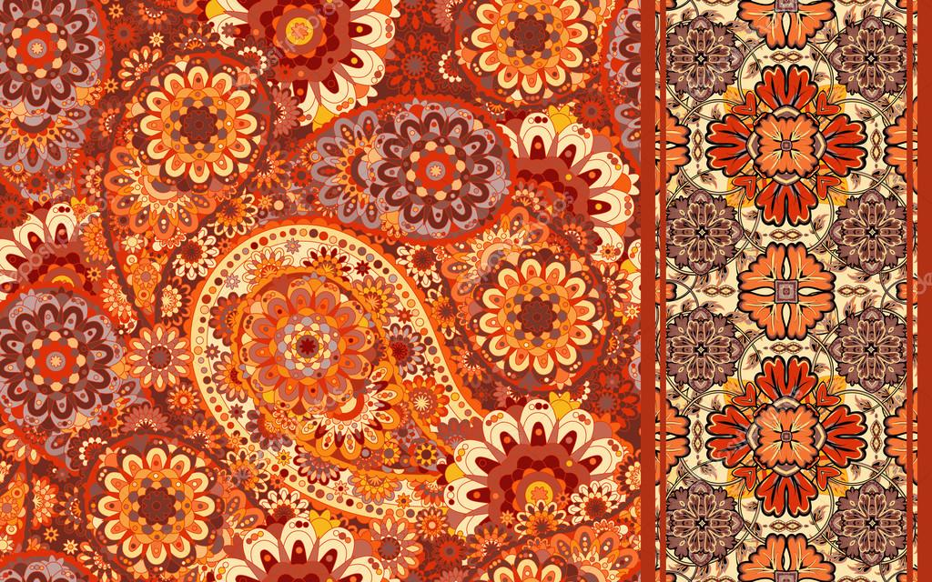 Set of raditional oriental seamless paisley pattern and vintage border. Flowers background. Decorative ornament backdrop for fabric, textile, wrapping paper, card, invitation, wallpaper, web design.