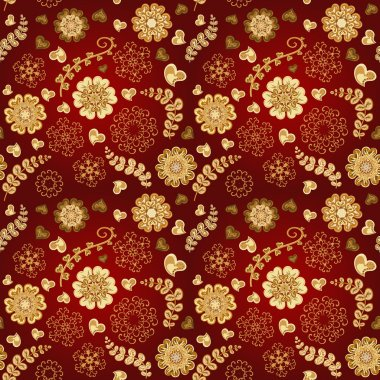 Floral seamless pattern with flowers. Copy square to the side and you'll get seamlessly tiling pattern which gives the resulting image ability to be repeated or tiled without visible seams stock vector