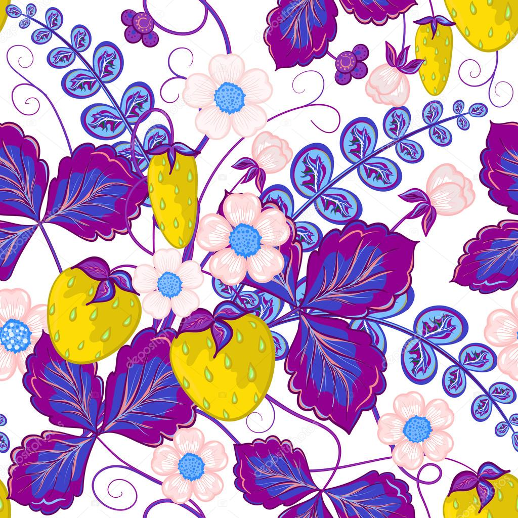 Wallpapers pattern fills web page backgrounds surface textures - Seamless Pattern With Yellow Strawberries And Violet Leaves Perfect For Wallpapers Pattern Fills Web Page Backgrounds Surface Textures Textile Vector