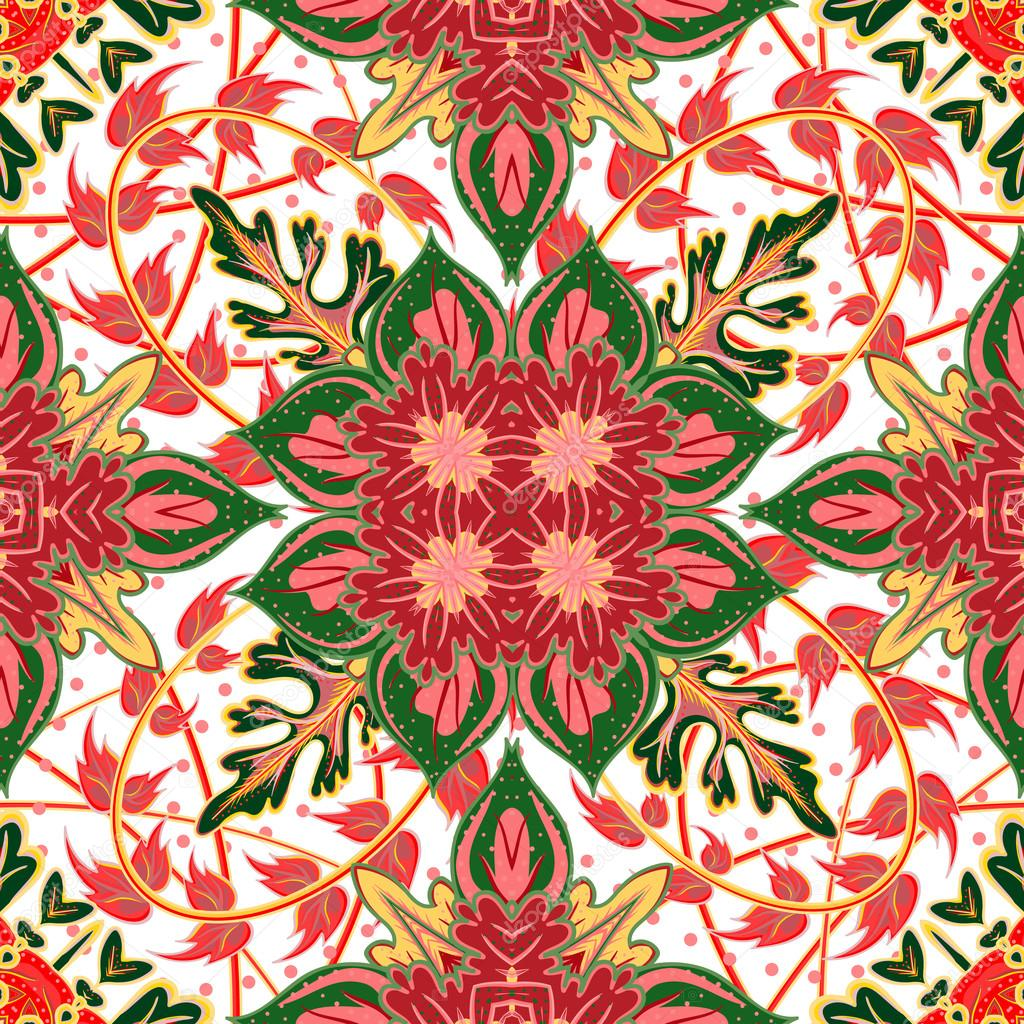 Gorgeous seamless patchwork pattern from blue Moroccan tiles, ornaments.