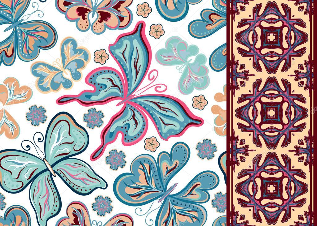 Flores Vectoriales Con Fondo Transparente: Patrón Transparente Con Flores Y Coloridas Mariposas