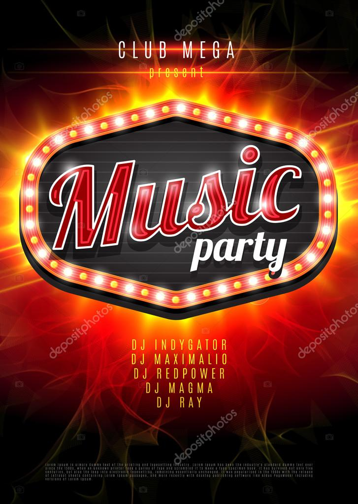 Abstract music party background for music event design retro light abstract music party background for music event design retro light frame on red flame background vector illustration leezarius voltagebd Images