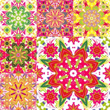 Set of seamless colorful patterns in oriental style. Islam, Arabic, Asian motifs