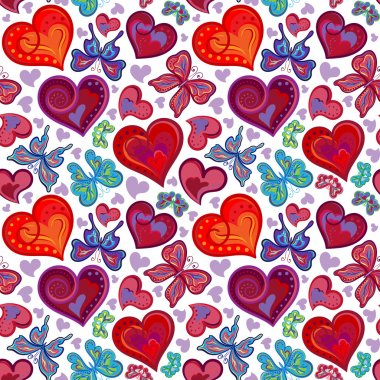 Seamless valentine pattern with colorful vintage red and blue butterflies, flowers, hearts. Vector illustration