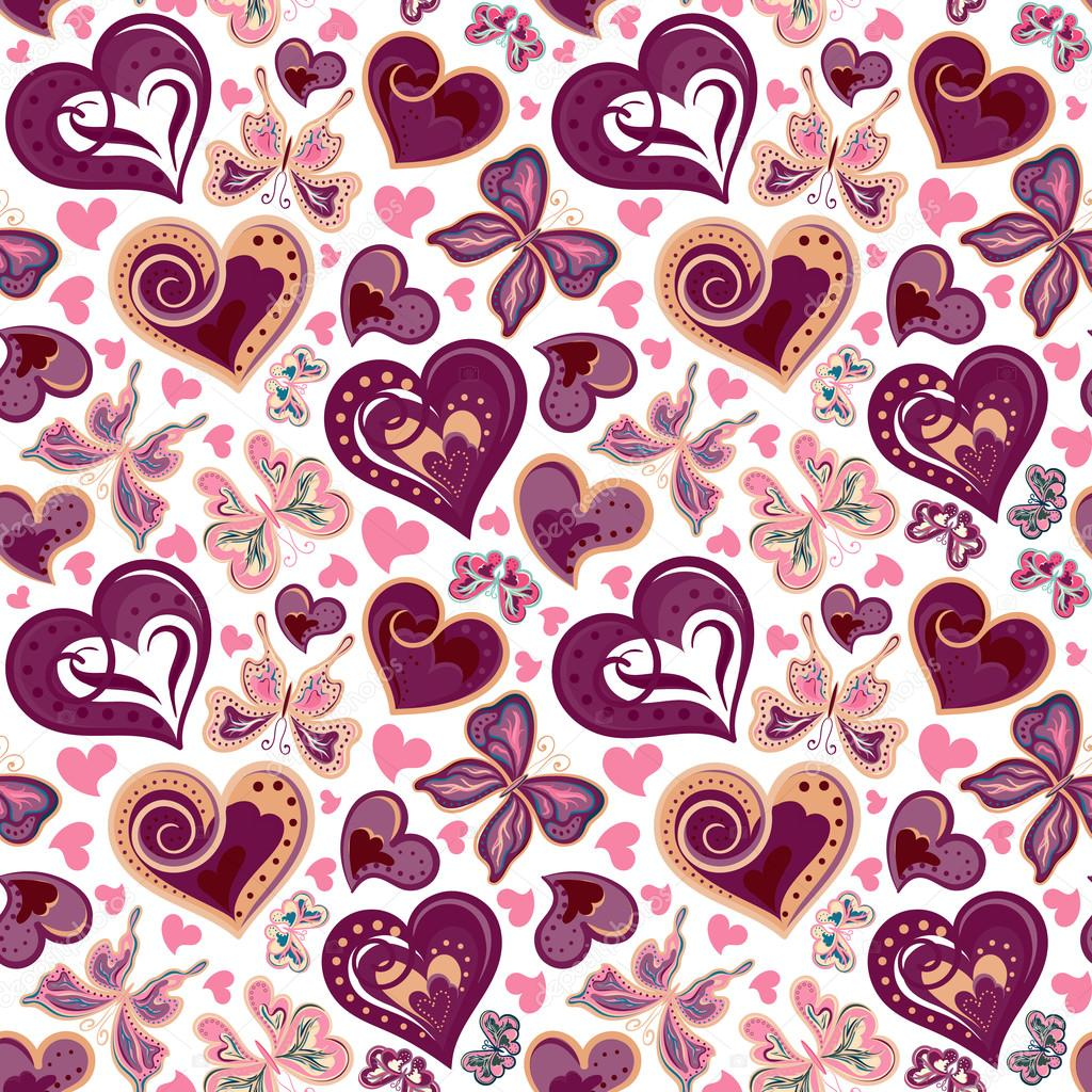 Seamless valentine pattern with colorful vintage butterflies, flowers and hearts. Vector
