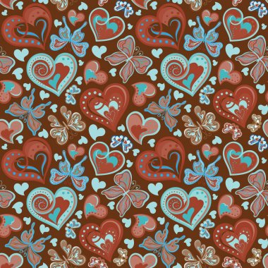 Seamless valentine pattern with colorful vintage blue and brown butterflies, flowers and hearts on black background. Vector illustration