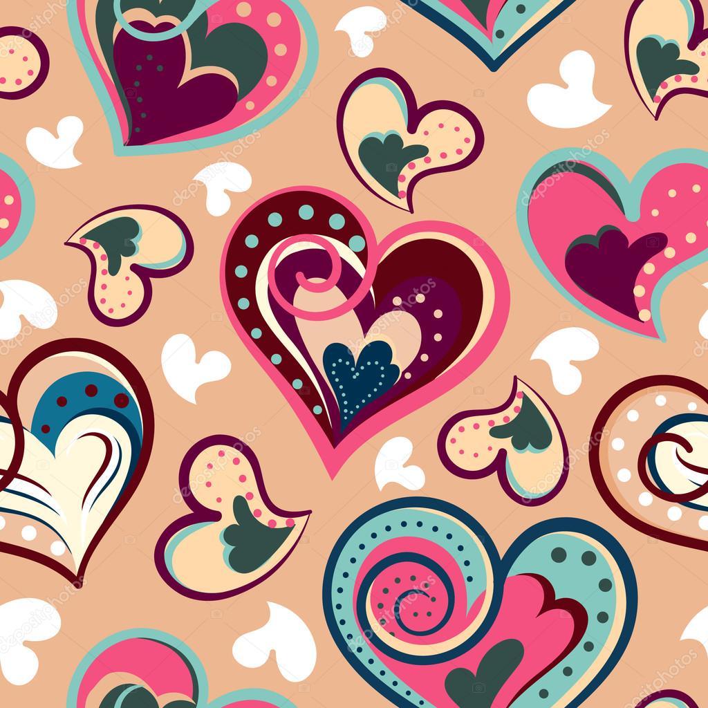 Romantische Nahtlose Muster Mit Bunten Hand Zeichnen Herzen Bunte