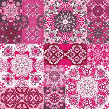 Large set of colorful vintage ceramic tiles with ornate Moroccan patterns. Backgrounds and textures shop.