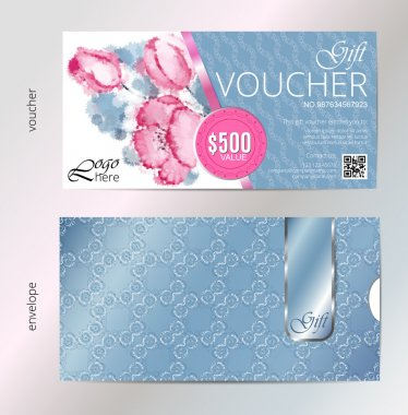 Gift voucher vector beauty watercolor silver background plus envelope. VIP backdrop pink flowers, for saloon, gallery, spa, etc
