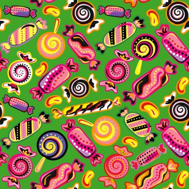 Seamless background with various candies. Vector illustration. Bright background with candies.
