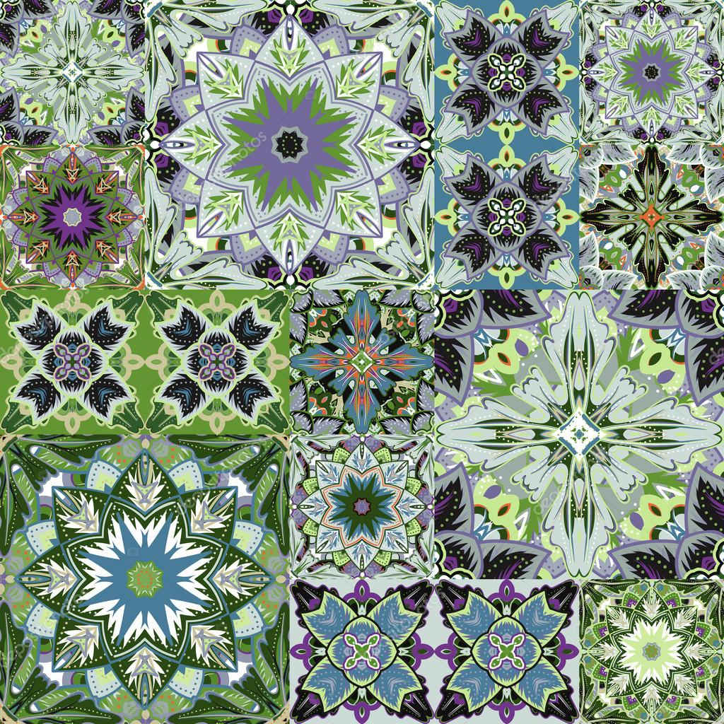 Seamless patchwork background. Oriental ornament motifs. Colorful bright ornaments. Vector illustration