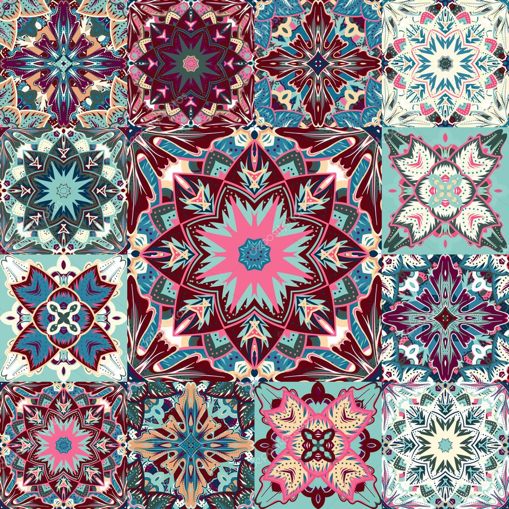 Vector seamless patchwork background from colorful oriental ornaments, polka dot patterns, rosette from stylized flowers and leaves. Geometrical decorative  textile print