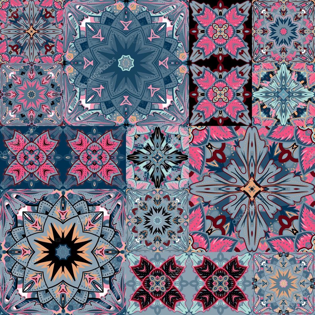Set of seamless patchwork patterns from colorful Moroccan, Portuguese  tiles, Azulejo, ornaments. Can be used for wallpaper, pattern fills, web page background,surface textures.