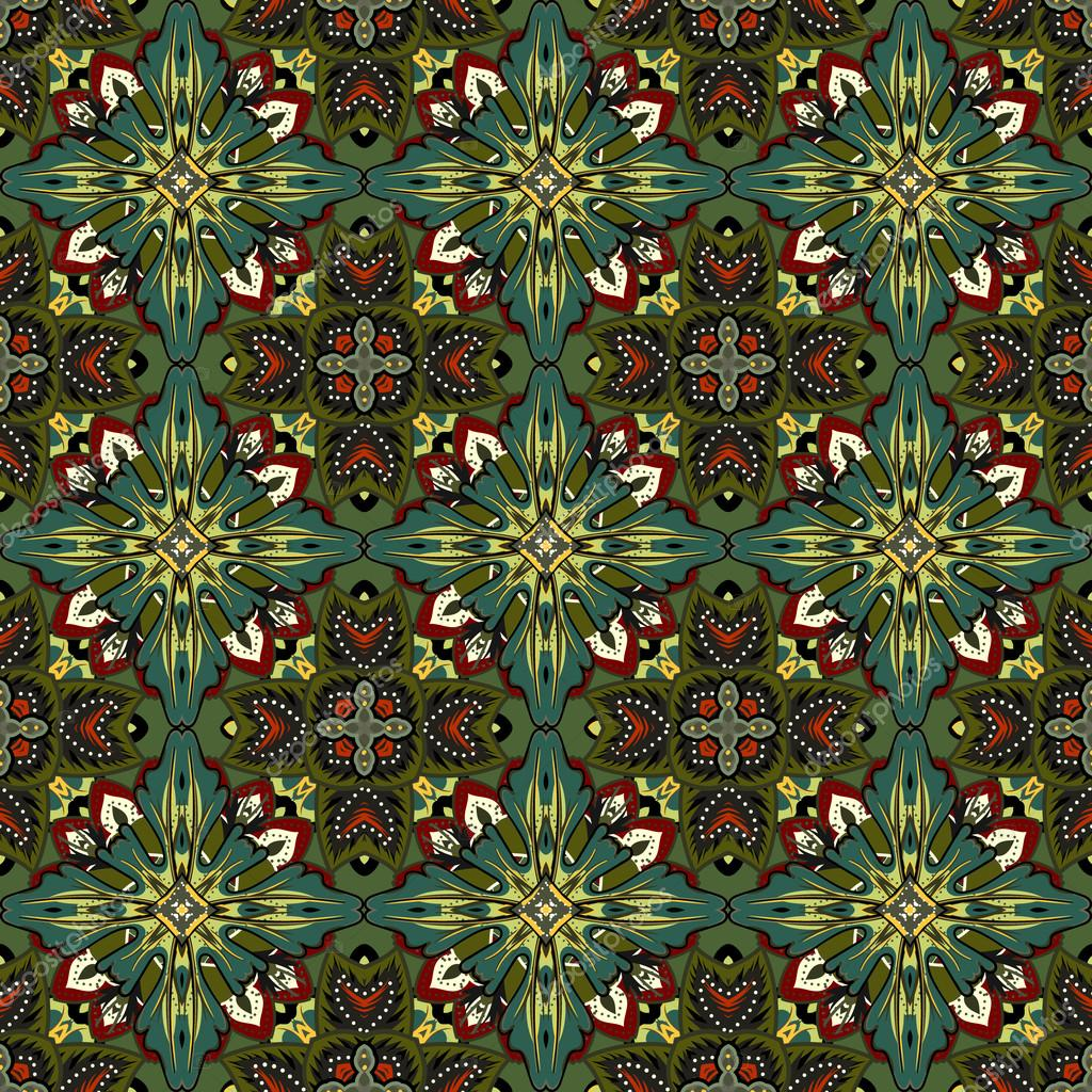 Vector abstract seamless patchwork background from dark grey blue and white ornaments, geometric Moroccan patterns, stylized flowers and leaves