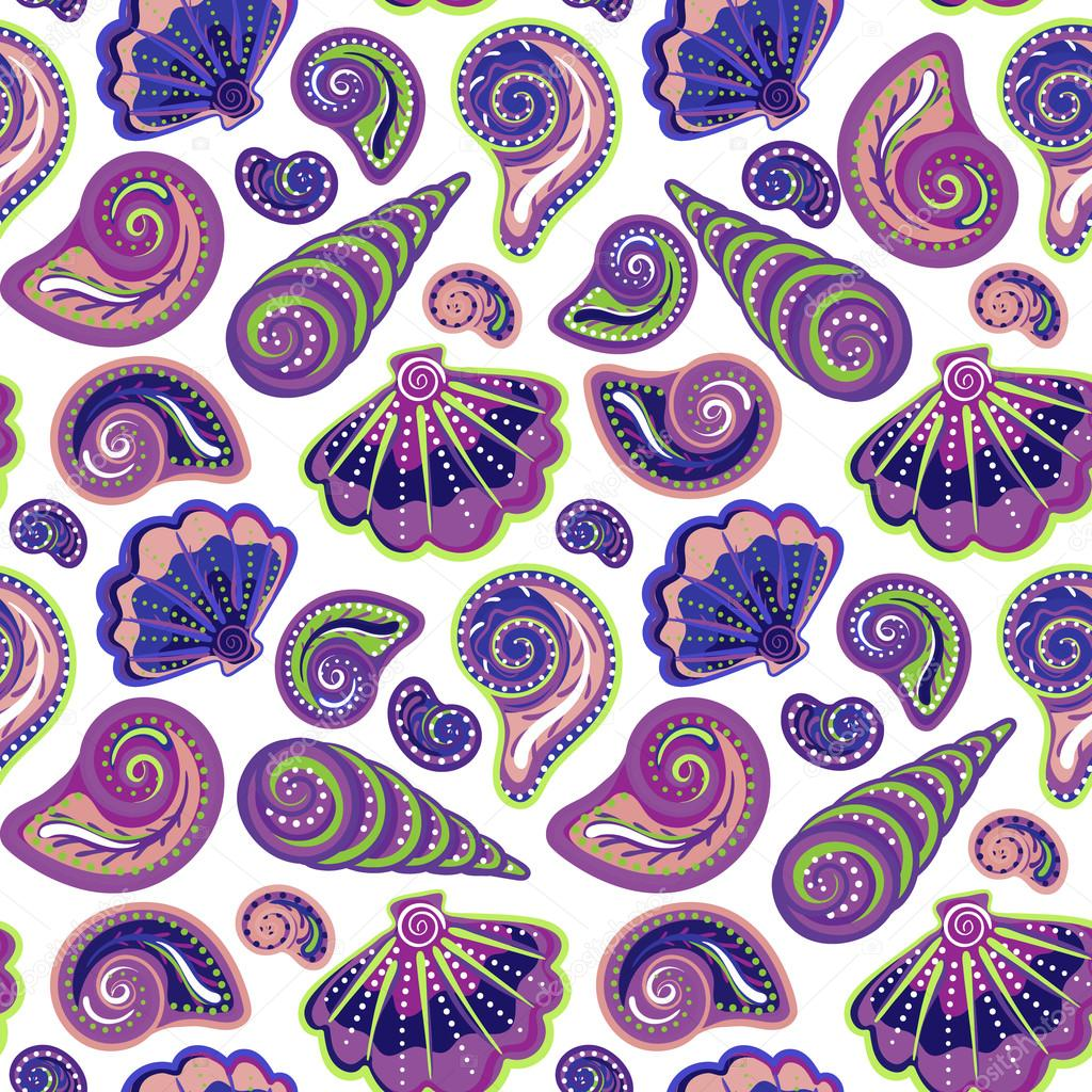 Hand draw sea shells pattern. Seamless texture with hand painted oceanic life objects. Vector summer background