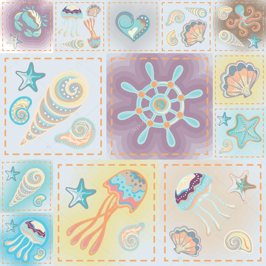 Vector patchwork nautical patterns.  Use to create quilting patches or seamless backgrounds for various craft projects