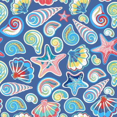 Seamless pattern with sea shells and starfish in colorful, white. Repeating print background texture. Cloth. Wallpaper, wrapping