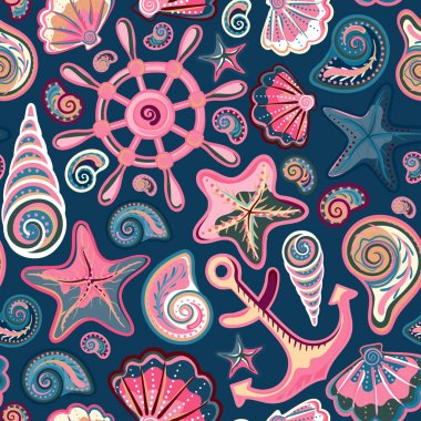 Seashell seamless pattern - vector illustration
