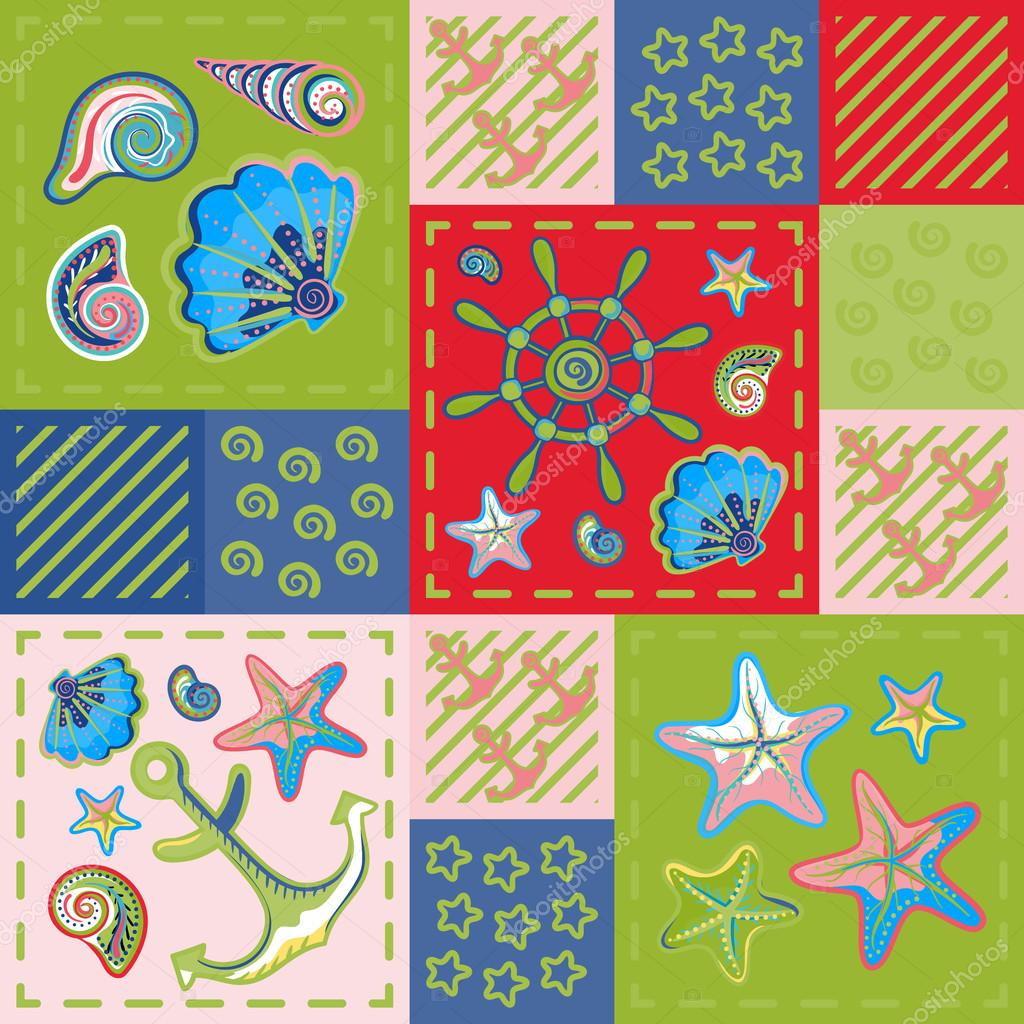 Nautical marine patchwork seamless pattern with shells, starfish, anchor and wheel. Sea life