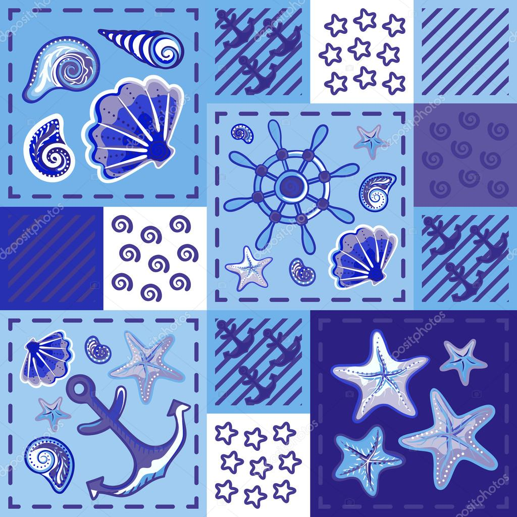 Seamless marine pattern in patchwork style with shells starfish wheel and anchor. Beautiful graphic sea background.
