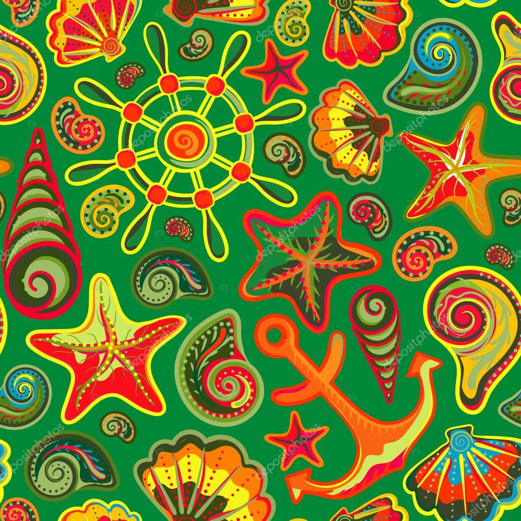 Nautical background, bright seamless pattern with sea shells, anchor, wheel, starfish
