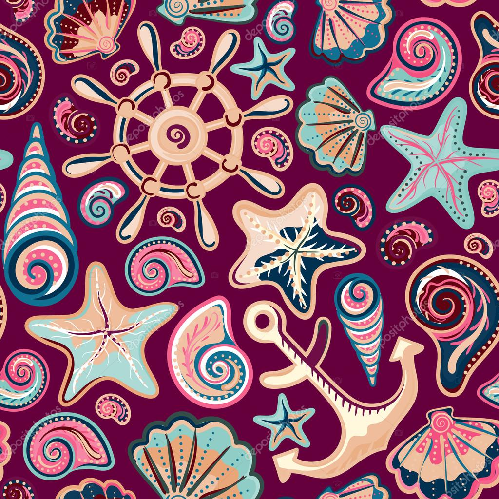 Nautical background, bright seamless pattern with sea shells, anchor, wheel, starfish