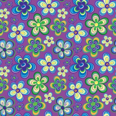 Vector seamless floral pattern in bright multiple colors. Colorful background with flowers and dots in style of child drawing. Positive spring summer texture.