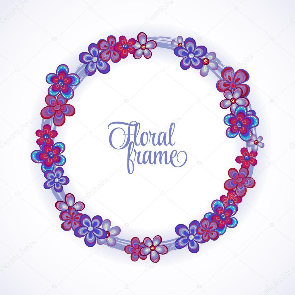 Floral Frame circle. Cute retro flowers arranged un a shape of the ...