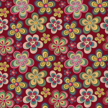 Vector seamless floral pattern in doodle style. Bright pattern with flowers. Background for wallpaper, paper, greeting cards, invitations and tissues.