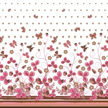 Vertical Seamless pink brown floral pattern with strawberries and flowers and translucent butterflies
