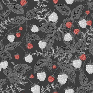 Seamless raspberry pattern. Cute hand drawing raspberry background in gray red tone. Vector illustration. For cards, invitations, wedding or baby shower albums, backgrounds, wallpapers, scrapbooks.