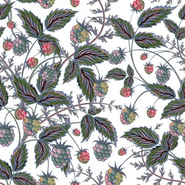 Seamless pattern with leaves and raspberry. Background for your design with bright, contrasting red berries and green leaves. Vector illustration.