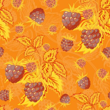 Seamless orange brown pattern with raspberries. Hand painting. Colorful pattern for fabric, paper and other printing and web projects.
