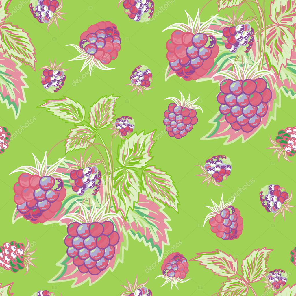 Seamless Pattern With Pink Raspberries On Green Background In