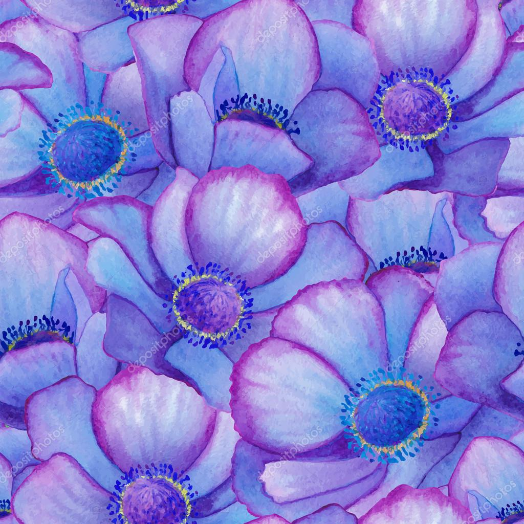Hand painted watercolor vector blue anemone seamless pattern background.