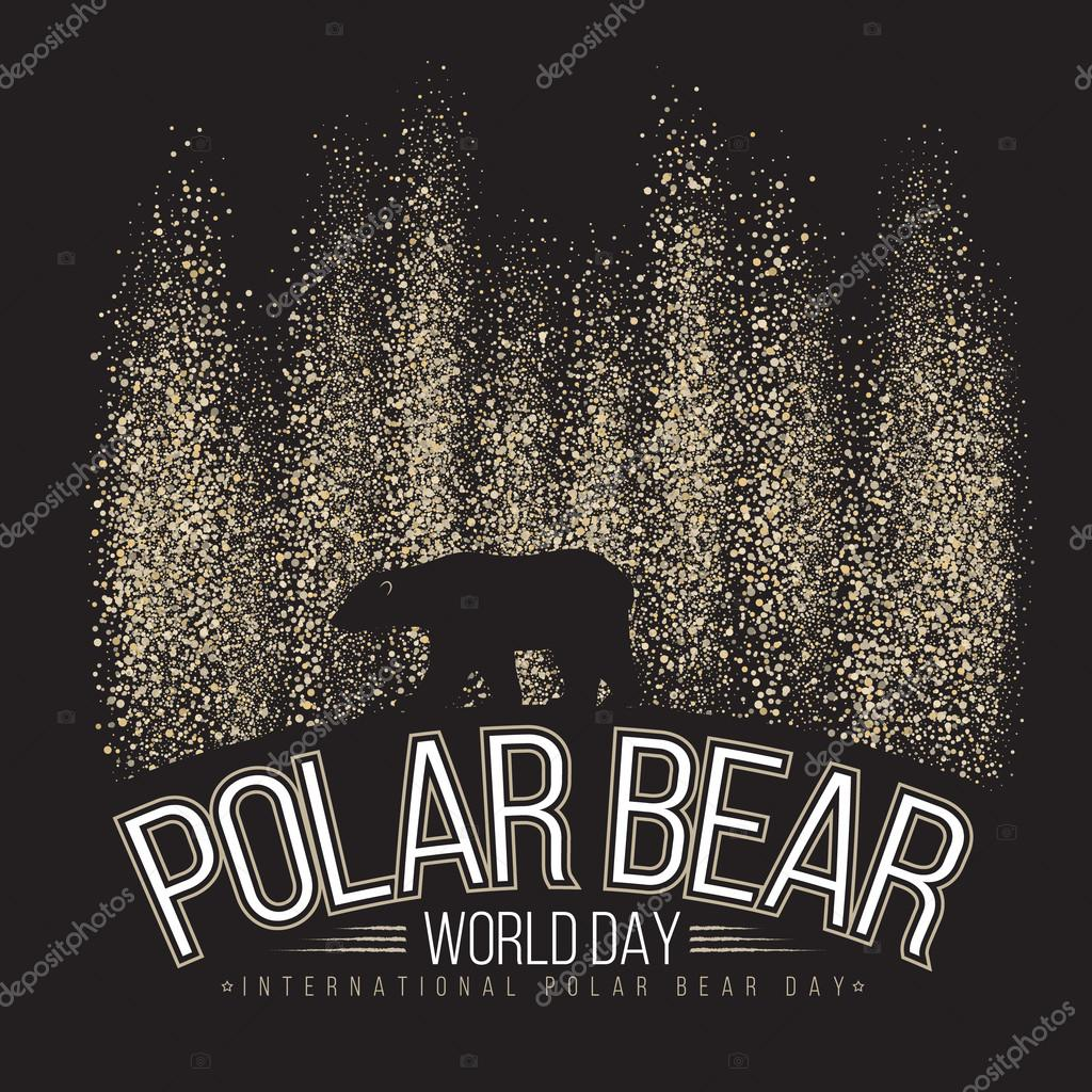 Polar bear on the background of the northern lights. International day of polar bear. Vector illustration.