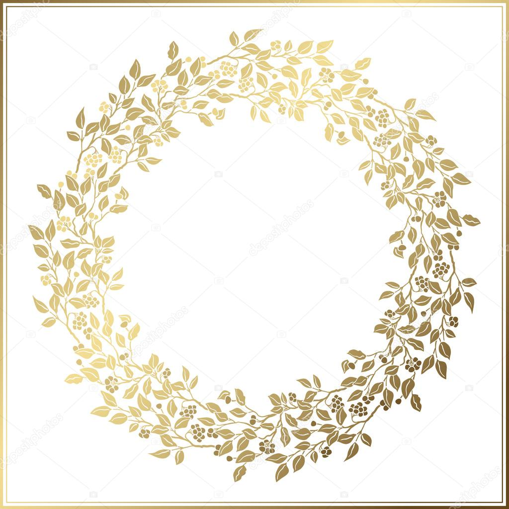 Beautiful vintage circle frame wedding decor openwork template beautiful vintage circle frame wedding decor openwork template golden leaves and berries on white background vector by leezarius junglespirit Image collections