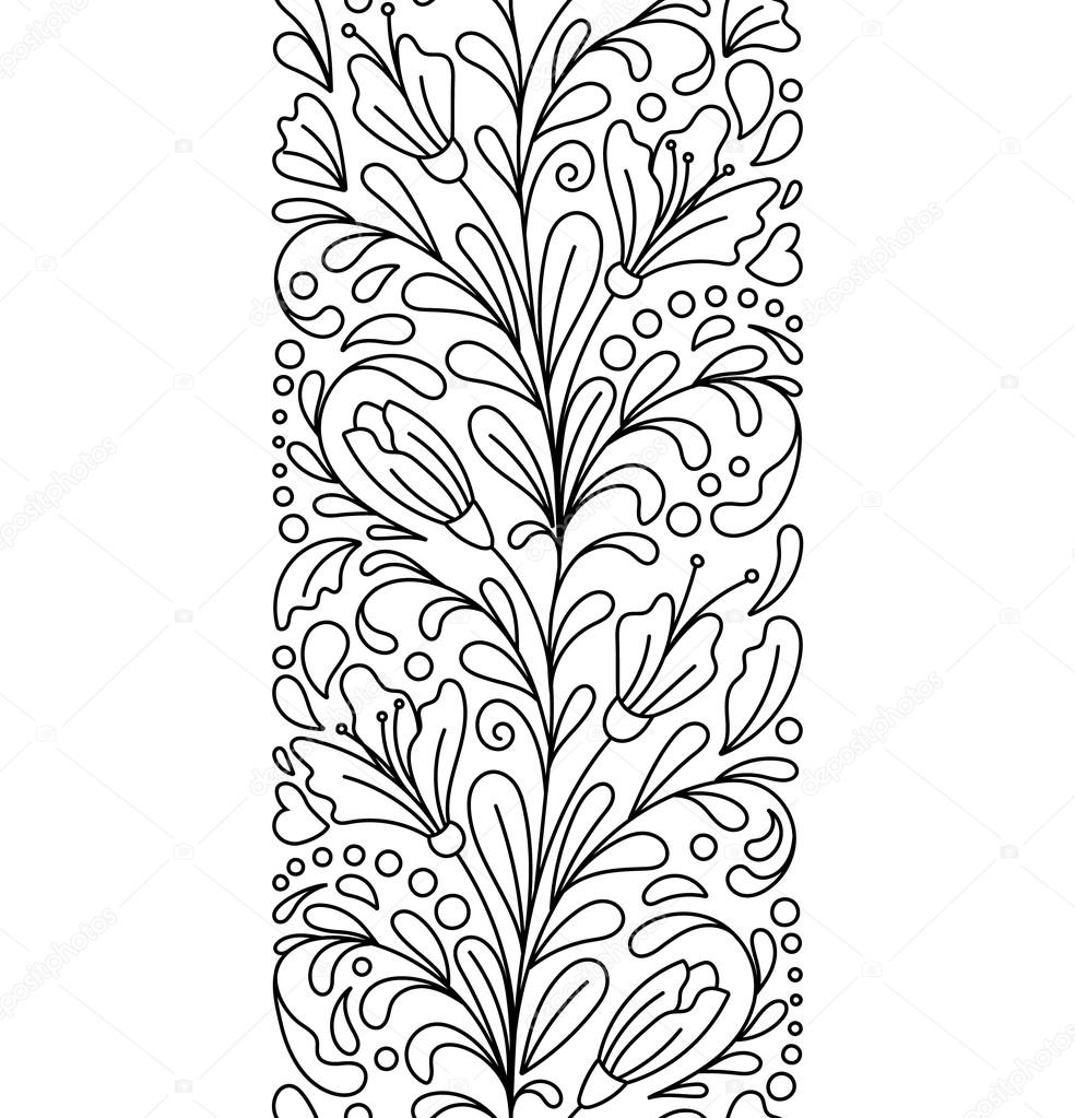 floral ornate decorative valentines womens day design elements black and white background zentangle coloring book page vector by leezarius