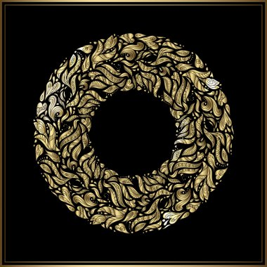 Gold round frame on black background. Vector floral decoration made from swirl shapes. Greeting, invitation card. Simple decorative black and gold illustration for print, web.