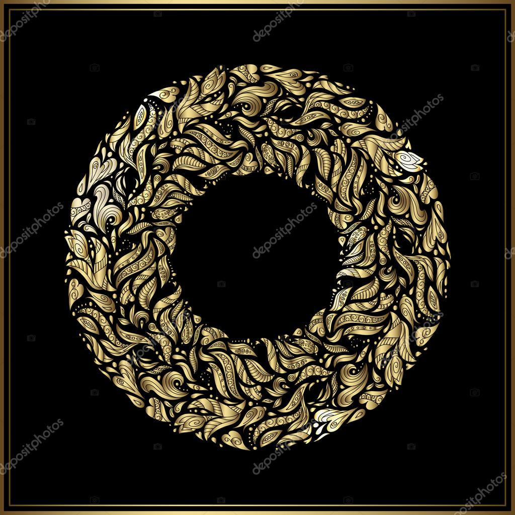 Gold round frame on black background vector floral decoration made gold round frame on black background vector floral decoration made from swirl shapes greeting invitation card simple decorative black and gold stopboris Image collections