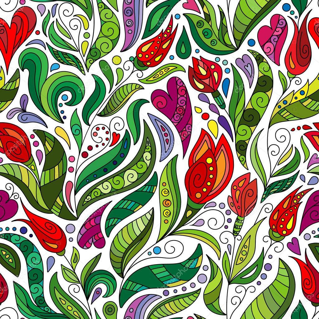 Ethnic Floral Zentangle Doodle Pattern Beautiful Seamless Art Flowers Hand Drawn Herbal Design