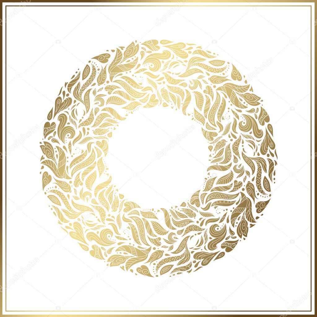 Ouro moldura redonda vetor floral da decorao feita a partir de vector floral decoration made from swirl shapes greeting invitation card simple decorative black and gold illustration for print web stopboris Images