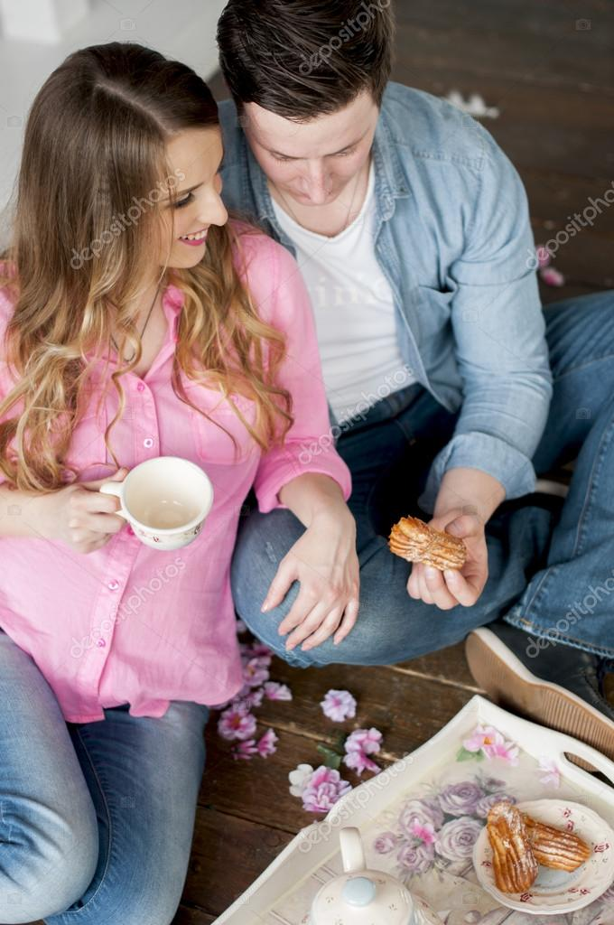 Romantic Breakfast In A Pregnant Wife With Her Husband Stock Photo
