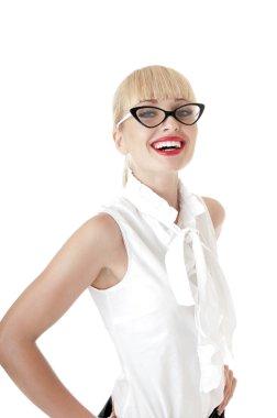 Smiling  blonde business women wearing glasses