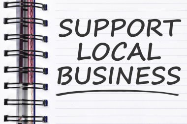 support local business words on spring note book